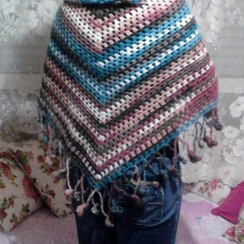Crochet Shawl Multicolor Triangle Shawl Scarf Wrap Spring Summer Fall Winter Women Accessory Clothing Accessories Gift Ideas Ready to Ship
