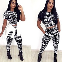 FENDI New Popular Women Color Matching Short Sleeve Top Trousers Set Two-Piece