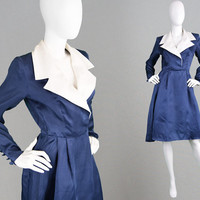 Vintage GIVENCHY COUTURE Dress 80s Organza Dress 1950s Style Dress 1980s Designer Dress Steel Blue Dress White Linen Shirtdress Knee Length
