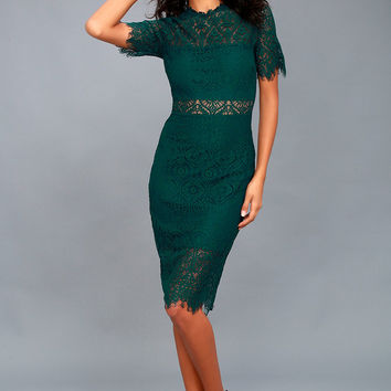Remarkable Forest Green Lace Dress