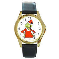 Christmas Grinch in Santa Outfit on a Womens or Girls Gold Tone Watch with Le...