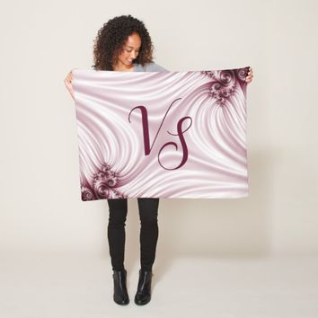 Pretty pink fractal. Silk imitation. Add monogram. Fleece Blanket