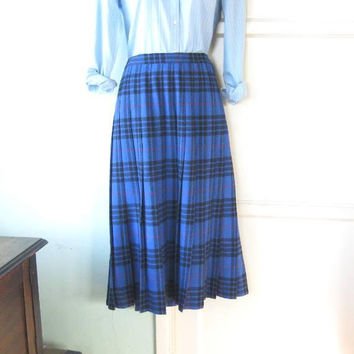 Rich Blue Plaid Wool Skirt; Oregon/Pendleton Pleated Women's Medium Midi Skirt; U.S. Shipping Included