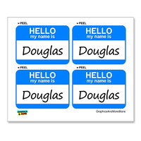 Douglas Hello My Name Is - Sheet of 4 Stickers