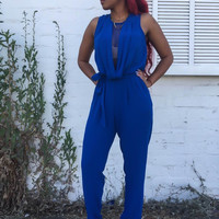 Blue Cowl Neck Mesh Sleeveless Jumpsuit