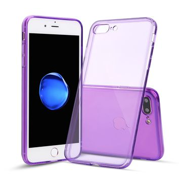 iPhone 7 Plus and iPhone 8 Plus Case Thin Rubber Transparent Soft Silicone Shockproof Purple