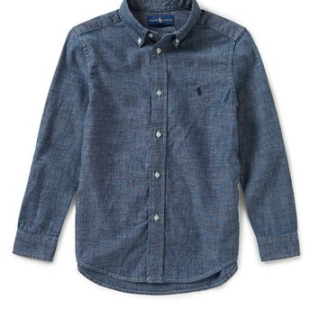 Ralph Lauren Childrenswear Little Boys 2T-7 Button-Down Long-Sleeve Chambray Shirt | Dillards