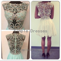 New Arrival A-line Jewel Sleeveless Mini Chiffon Fashion Cheap Short Prom Dress / Evening Dress 2014 With Beading from Simple Dress
