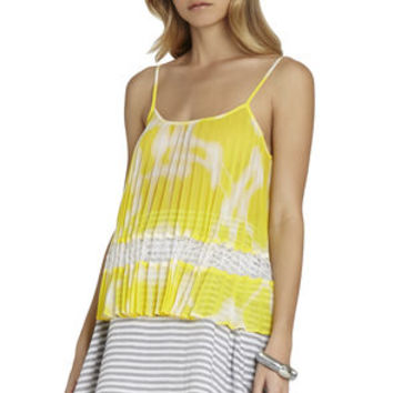 Pleated Block Tank in Orange/Yellow - BCBGeneration