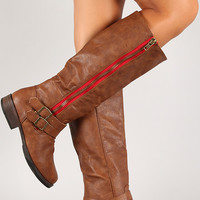 Double Buckle Contrast Zipper Knee High Riding Boot