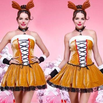 DCCKXT7 Reindeer Christmas Clothes Women Sleeveless Bandage Strapless Mini Dress Cosplay Party Uniform Set