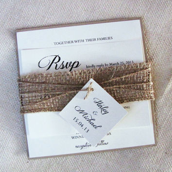 Rustic Burlap Belly Band Square Wedding Invitation Country Shabby Chic