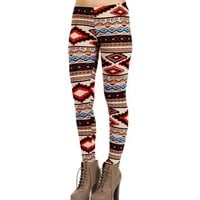 Tan/Red/Blue Tribal Print Leggings