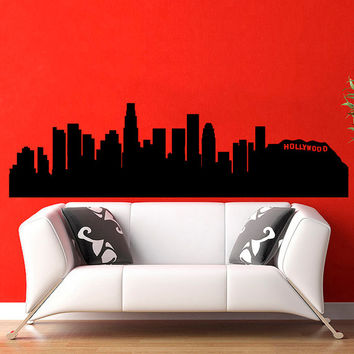 Los Angeles Skyline City Silhouette Wall Vinyl Decal Sticker Home Decor Art Mural  Z389
