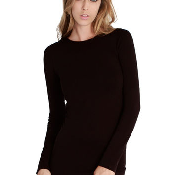 Essential Seamless Crew Neck Top - Black