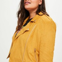 Missguided - Plus Size Yellow Suedette Biker Jacket