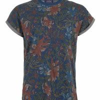 INDIGO TROPICAL FLORAL T-SHIRT - New This Week - New In