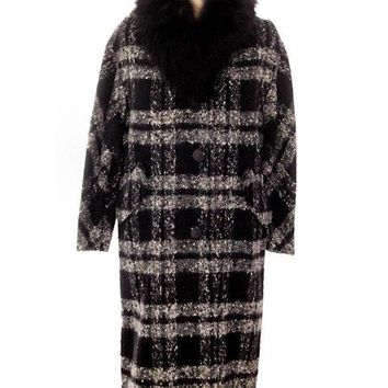Vintage Black & White Mohair Coat Trimmed W Fur 1950s Medium