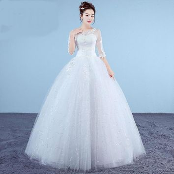White Princess Simple Wedding Dresses Lace Half Sleeve O-Neck Bridal Gown Floor-Length