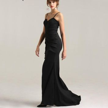 Black Simple Prom Dresses  Strech  Tiered Fashion Mermaid Elegant Evening Party Dress 2018 LA6268