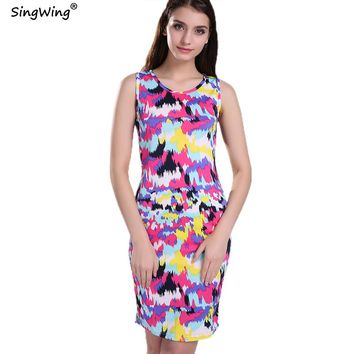 Singwing Spring Summer Women Casual Dress Fashion Sexy Beach O-neck Sleeveless Floral Splash Printed Celeb Bodycon Dresses