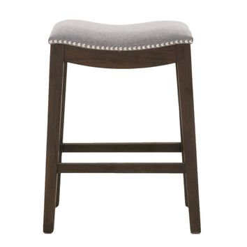 Nailhead Trimed Elevated Upholstered Counter Stool, Rustic Java Brown