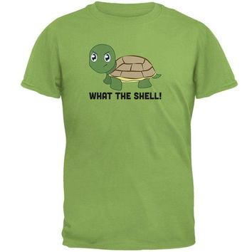 LMFCY8 Turtle What The Shell Funny Pun Cute Mens T Shirt