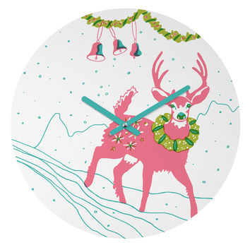 Betsy Olmsted Holiday Deer Round Clock