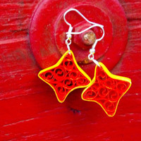 Paper Quilled Earrings Star Filigree - Orange and Yellow - quilling jewelry, paper earrings, bright colors, star earrings, eco friendly