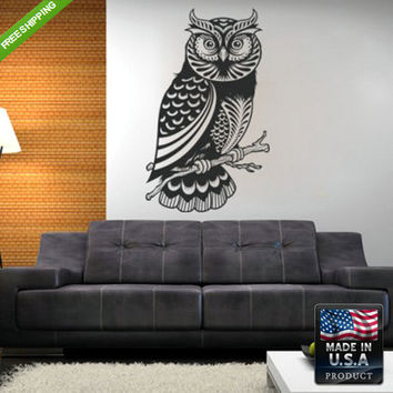 rvz113 Wall Vinyl Decal Sticker Beautiful Detailed Owl Animals Bedroom