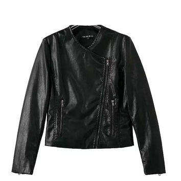 Black V-Neck Zipper Detail Biker Jacket