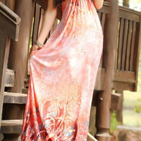 Orangepink Halter Floral Maxi Dress