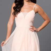Short Ruched-Top Tulle Emerald Sundae Dress