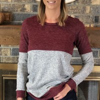 Burgundy/Grey Colorblock Top