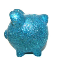 Turquoise Glitter Piggy Bank