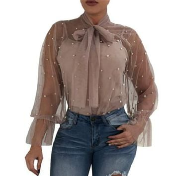 New 2018 lace blouse pearls summer sexy women top Mesh See through bow bandage flare long sleeve Elegant famale blouse plus size