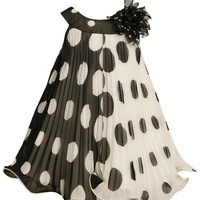 Bonnie Jean Girls Crystal Pleat Positive Negative Dot Dress
