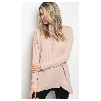 """Adorable Me"" One Side Cold Shoulder Tan Sweater Top"