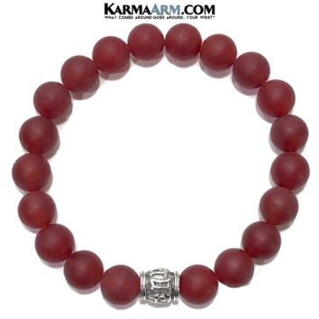 Buddhist Mantra | Om Mani Padme Hum | Red Agate Bracelet | 10mm Antiqued Silver Bead