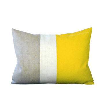 Lemon Linen Color Block Cushion Cover with Cream Stripe by JillianReneDecor - Spring Summer Home Decor - Bright Yellow