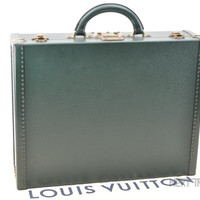 Auth Louis Vuitton Taiga Leather President Hard Briefcase Green M30002 LV 43279