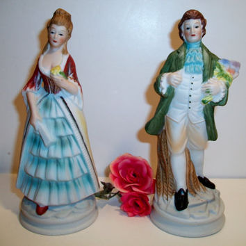 Vintage Victorian Couple Figurines Courting Colonial Statues Romantic