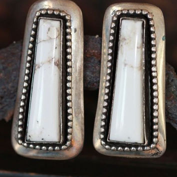 Vintage Signed Navajo 925 Sterling Silver White Buffalo Turquoise Pierced Post Earrings