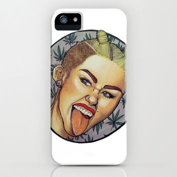 Miley Cyrus Portrait with Weed Leaf Background  iPhone & iPod Case by stylekreep