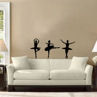 Three Dancers Girls Ballet Ballerina Sport Home Wall Housewares Vinyl Decal Art Decor Removable Stylish Sticker Unique Design Room V502