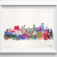 Calgary Skyline, Alberta Poster, Canada Print, Watercolor, Cityscape, City Painting, Illustration, Art Paint, Wall Art, Home Decor [NO 414]