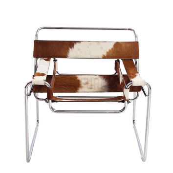Reproduction of Marcel Breuer's Wassily Chair (Cow skin) | GFURN