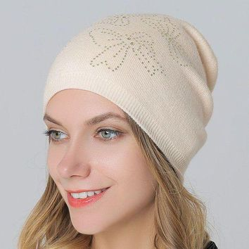 ac VLXC Wool Knit Winter Hot Sale Double-layered Ladies Rhinestone Pullover Hats [110448574489]