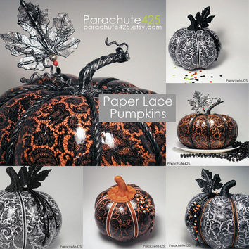 Orange and Black Lace and Beads Pumpkin, unique Halloween decor, decoupage pumpkin, recycled materials, lace paper pumpkin