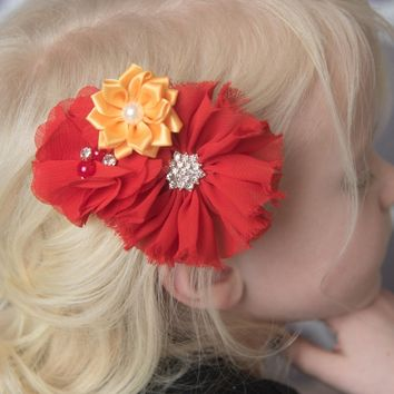 Red & Gold flower hair clip